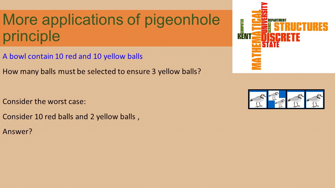 More applications of pigeonhole principle