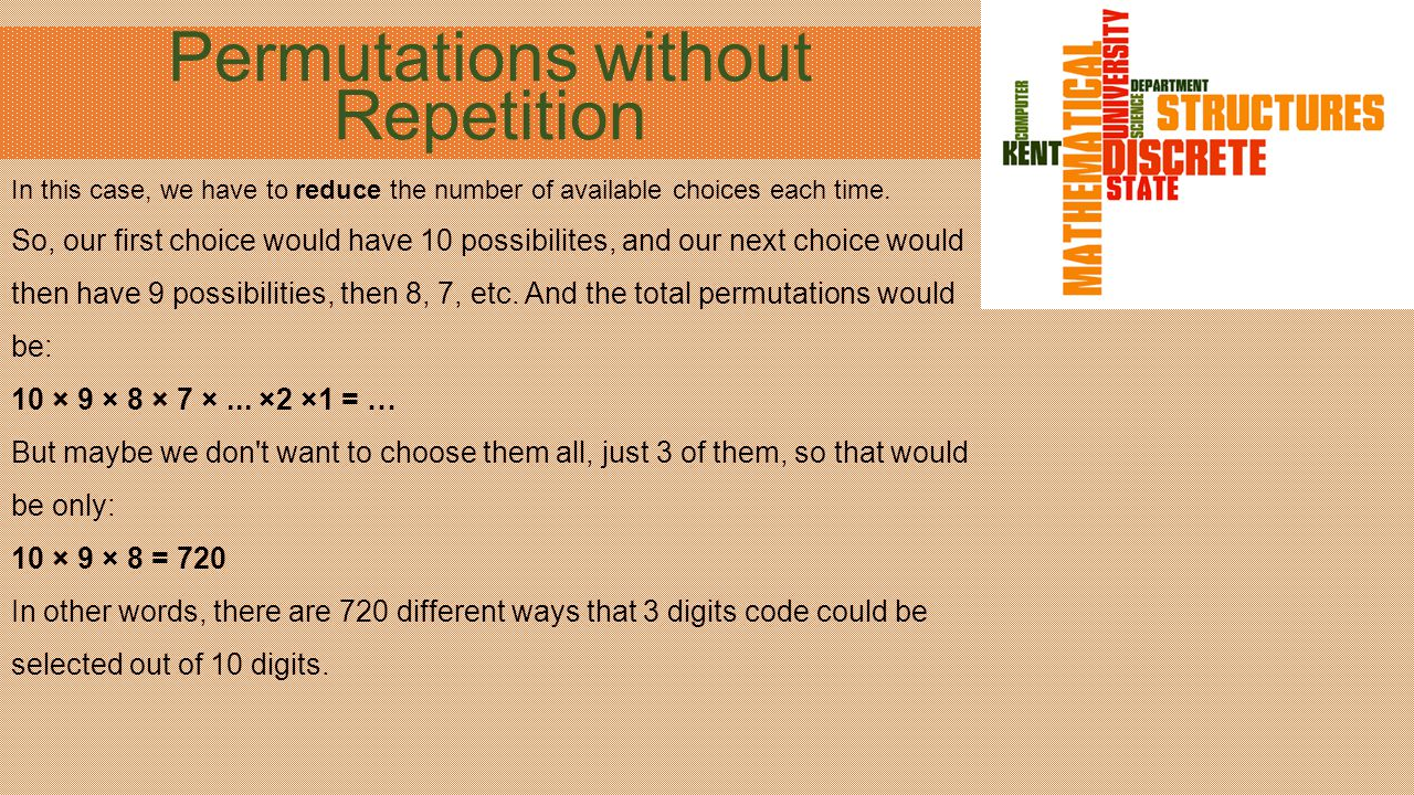 Permutations without Repetition