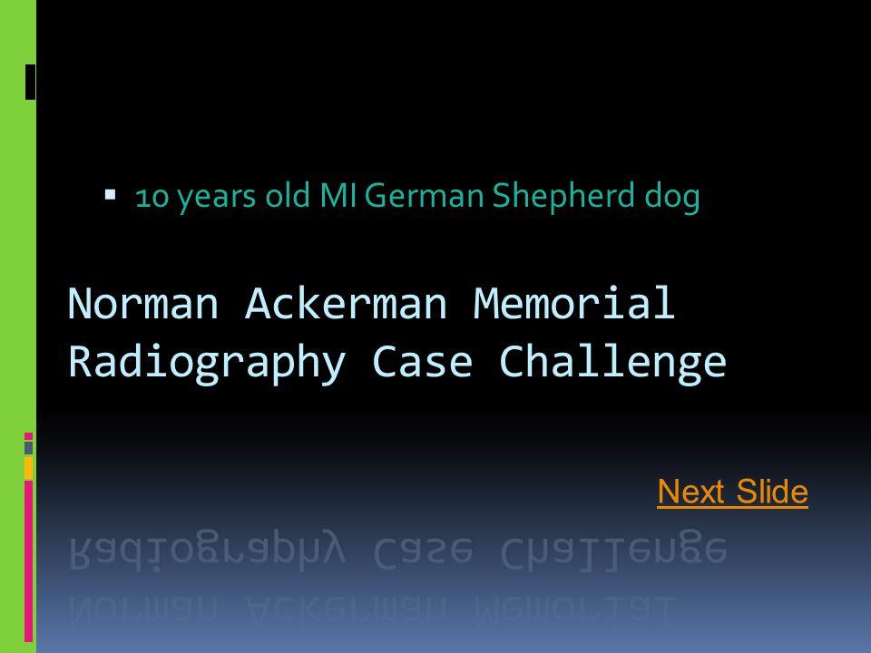 Norman Ackerman Memorial Radiography Case Challenge