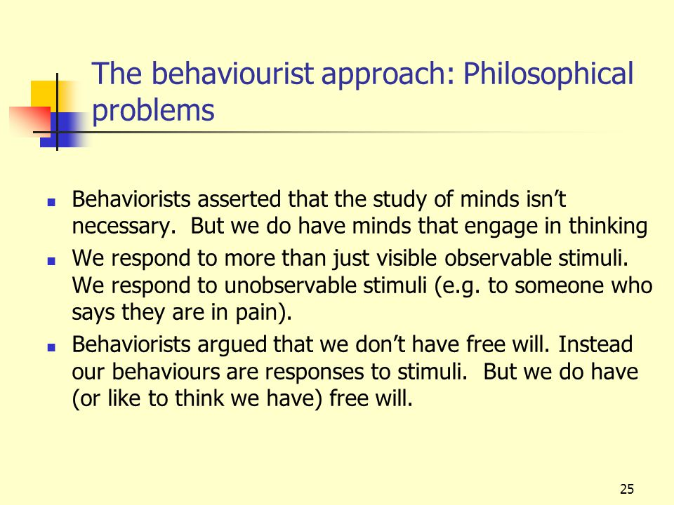 The behaviourist approach: Philosophical problems