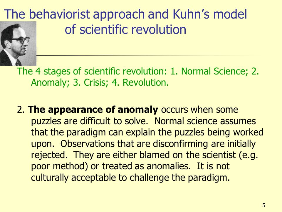 The behaviorist approach and Kuhn's model of scientific revolution