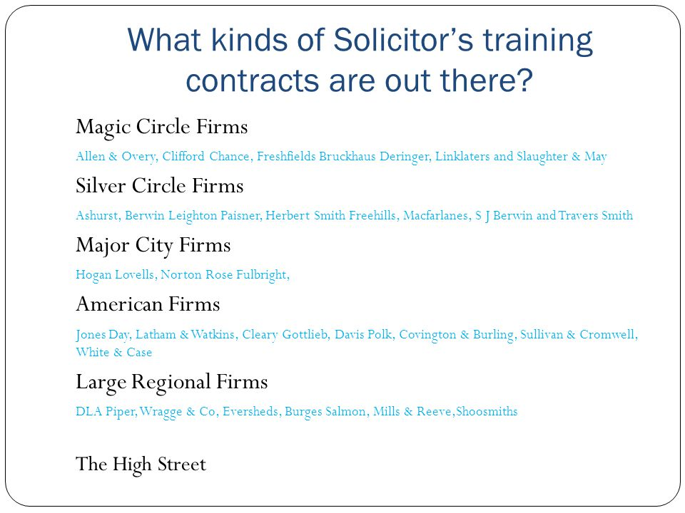 What kinds of Solicitor's training contracts are out there