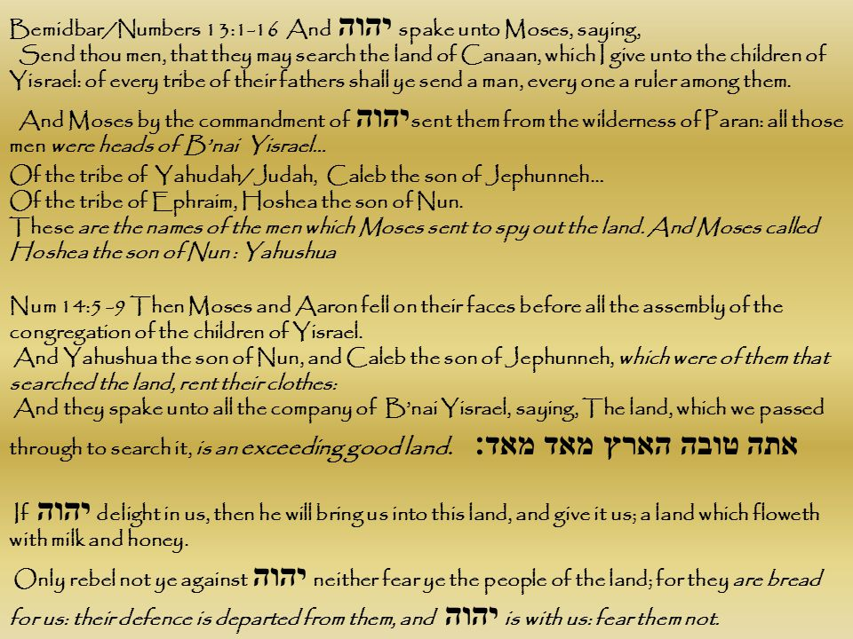 Bemidbar/Numbers 13:1-16 And יהוה spake unto Moses, saying,