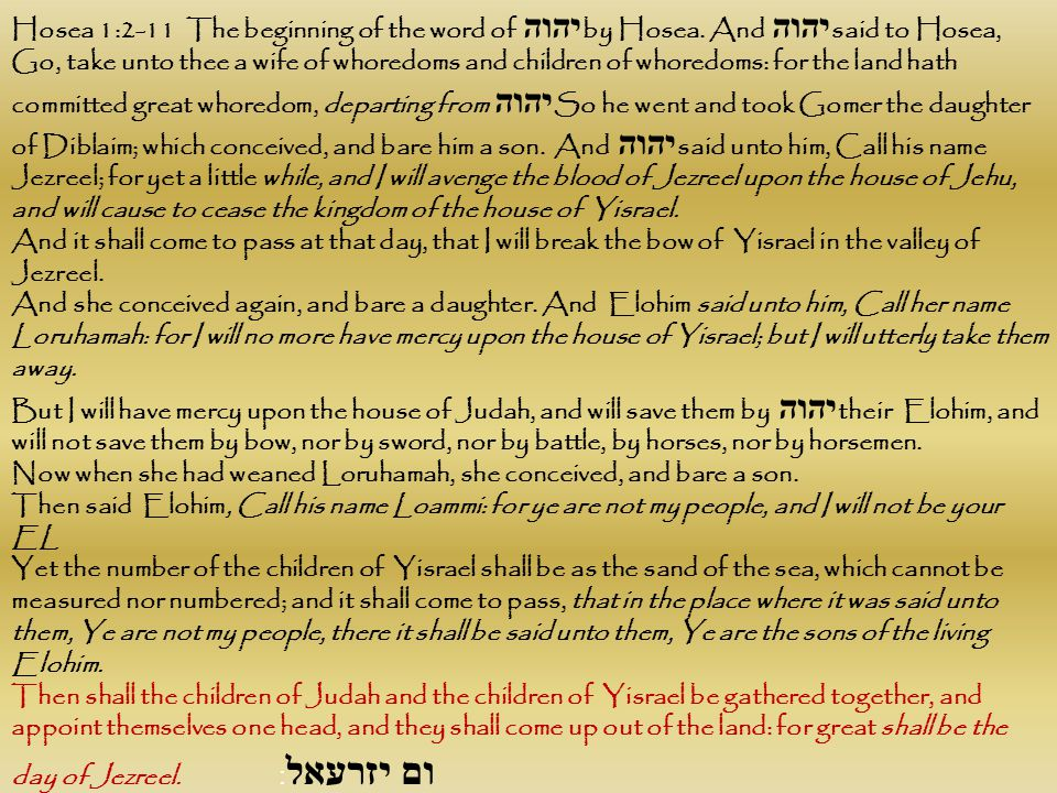 Hosea 1:2-11 The beginning of the word of יהוה by Hosea