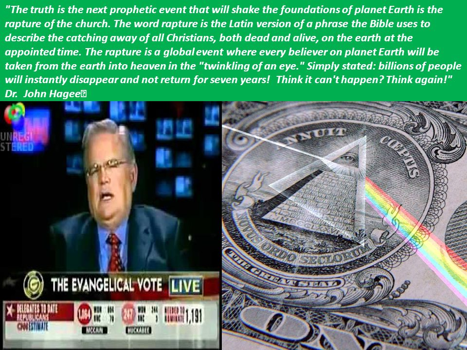 The truth is the next prophetic event that will shake the foundations of planet Earth is the rapture of the church. The word rapture is the Latin version of a phrase the Bible uses to describe the catching away of all Christians, both dead and alive, on the earth at the appointed time. The rapture is a global event where every believer on planet Earth will be taken from the earth into heaven in the twinkling of an eye. Simply stated: billions of people will instantly disappear and not return for seven years! Think it can t happen Think again!