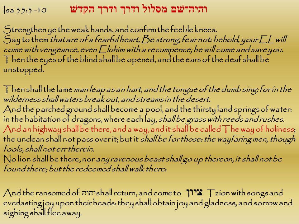Isa 35:3 -10 והיה־שׁם מסלול ודרך ודרך הקדשׁ