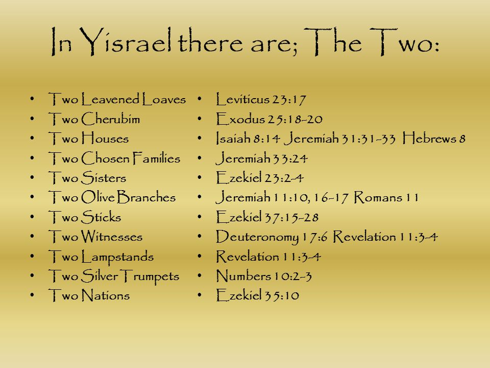 In Yisrael there are; The Two:
