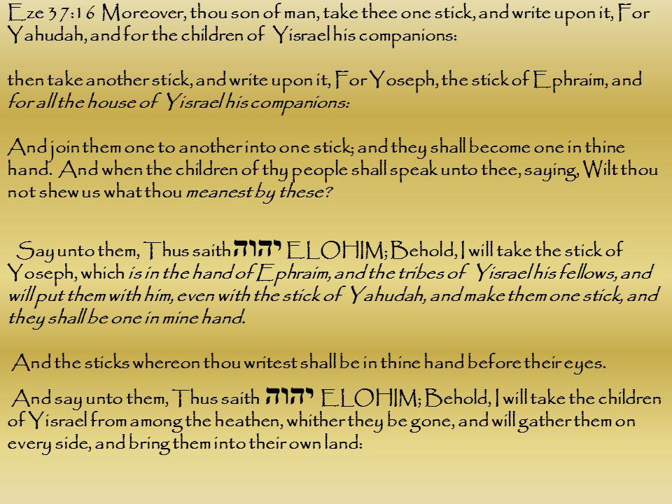 Eze 37:16 Moreover, thou son of man, take thee one stick, and write upon it, For Yahudah, and for the children of Yisrael his companions: