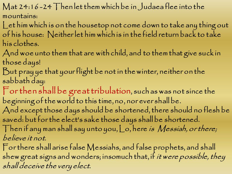 Mat 24:16 -24 Then let them which be in Judaea flee into the mountains: