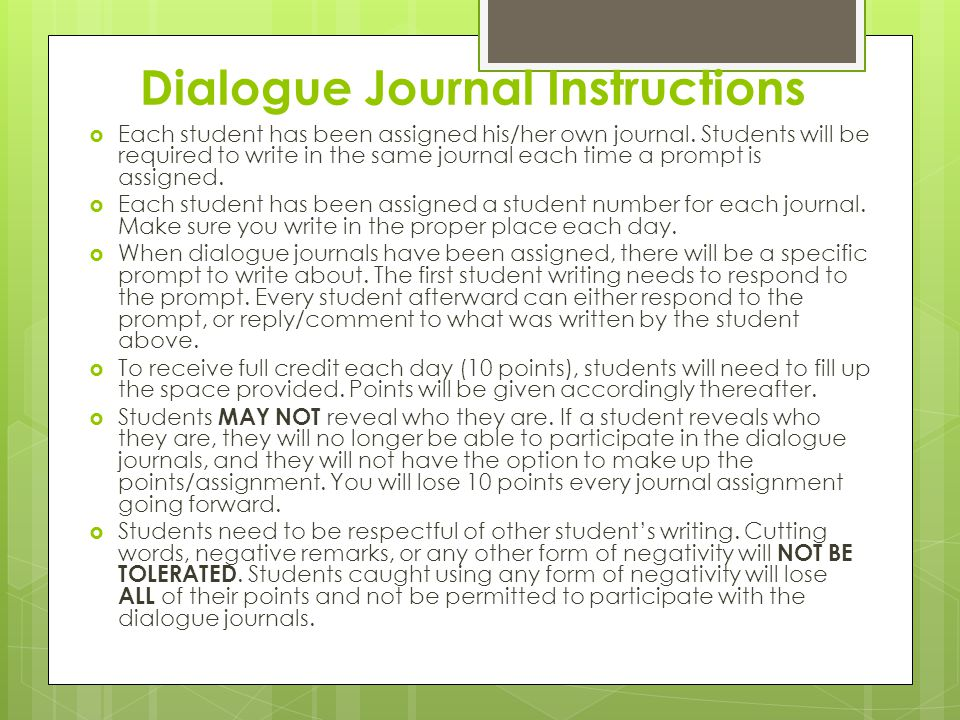 Dialogue Journal Instructions