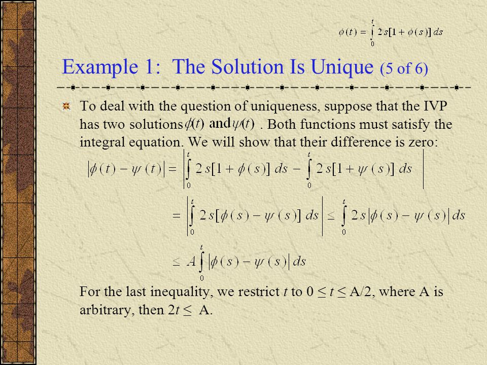 Example 1: The Solution Is Unique (5 of 6)