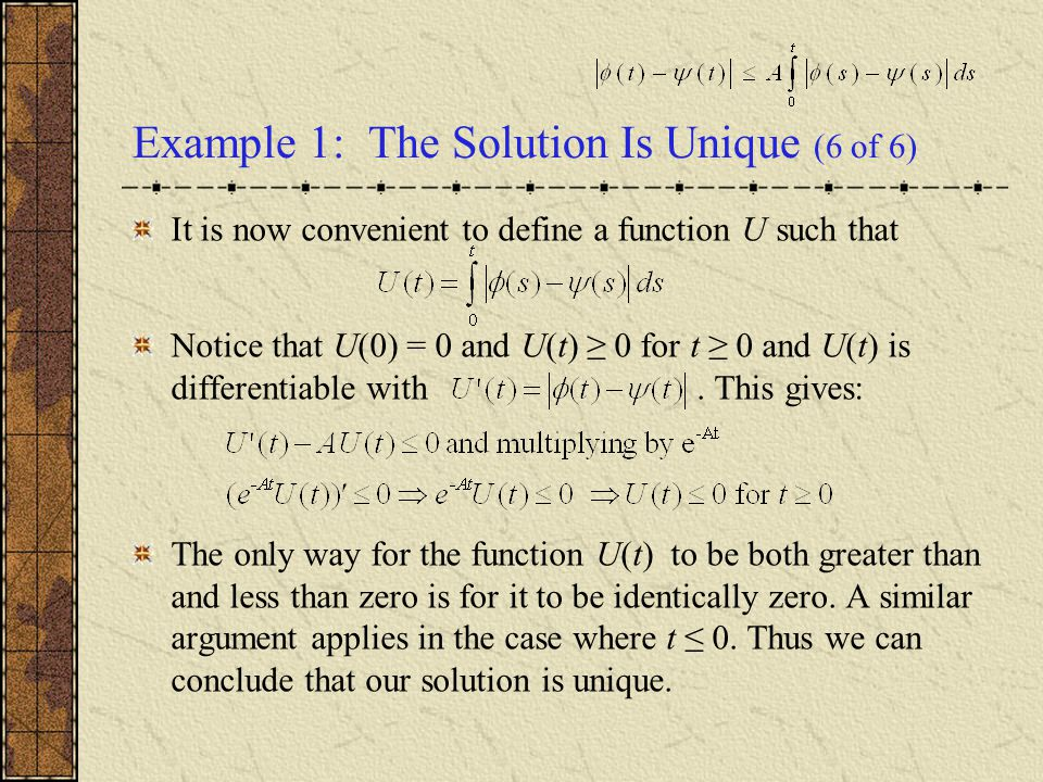 Example 1: The Solution Is Unique (6 of 6)