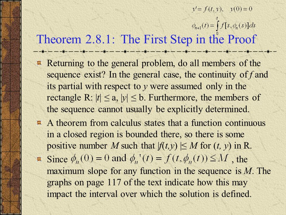Theorem 2.8.1: The First Step in the Proof