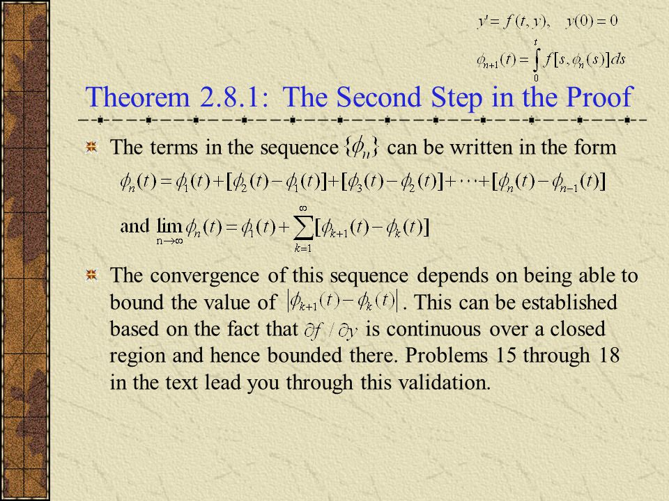Theorem 2.8.1: The Second Step in the Proof