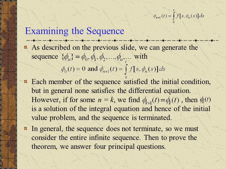 Examining the Sequence