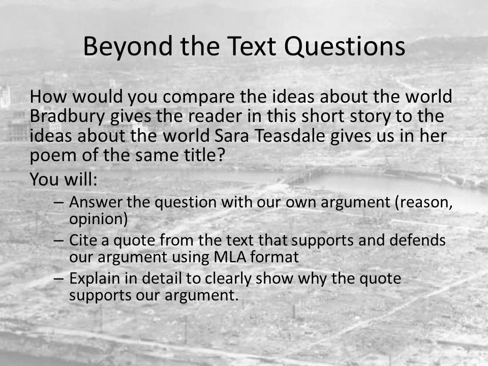 Beyond the Text Questions