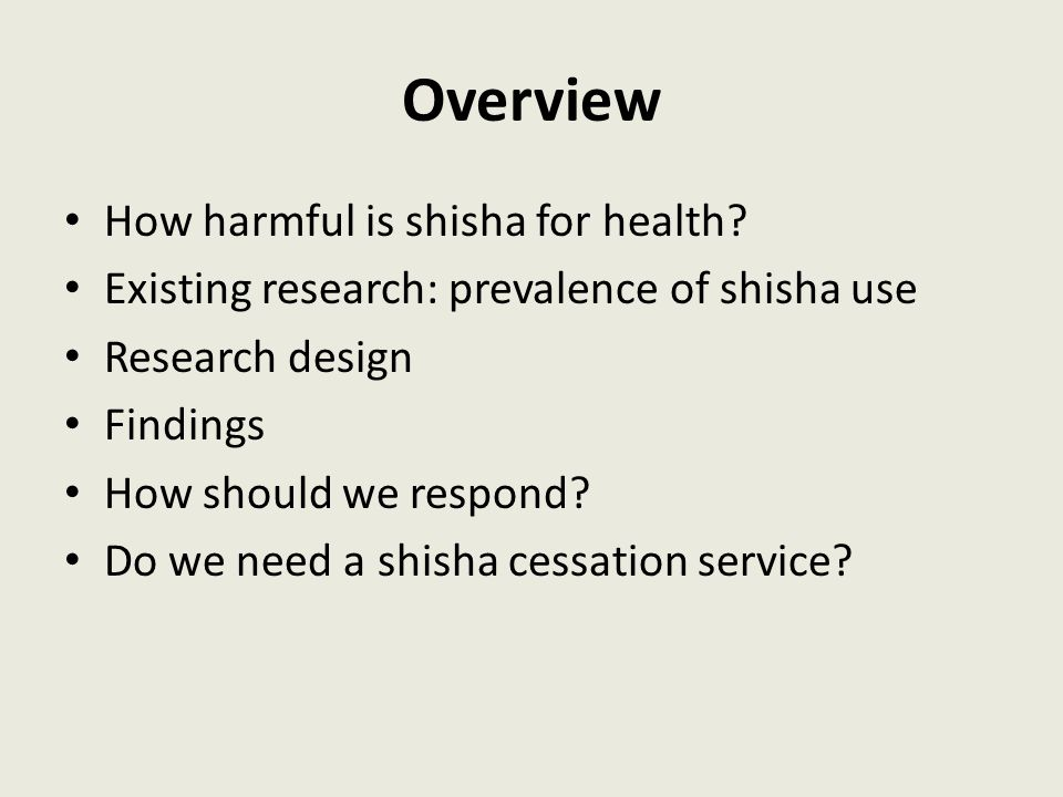 Overview How harmful is shisha for health