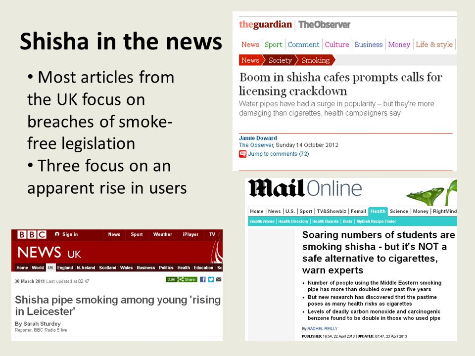 Shisha in the news Most articles from the UK focus on breaches of smoke-free legislation. Three focus on an apparent rise in users.