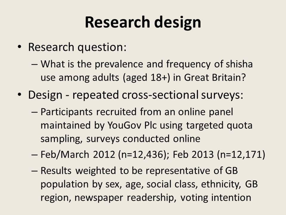 Research design Research question: