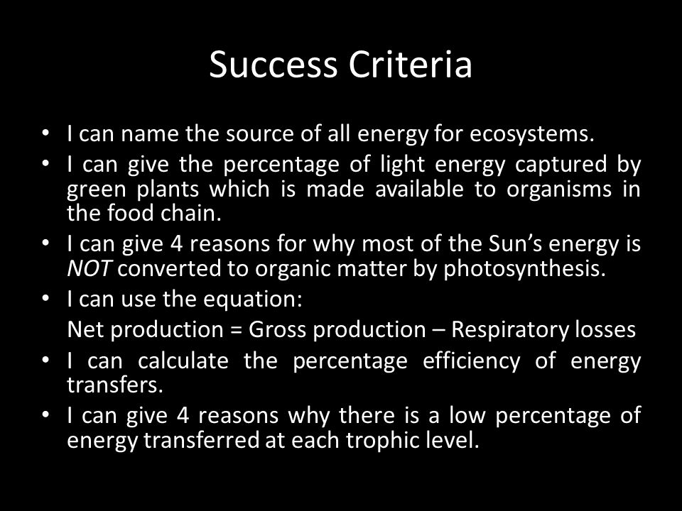 Success Criteria I can name the source of all energy for ecosystems.