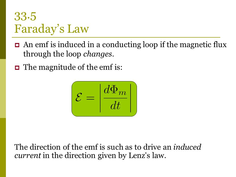 33.5 Faraday's Law An emf is induced in a conducting loop if the magnetic flux through the loop changes.
