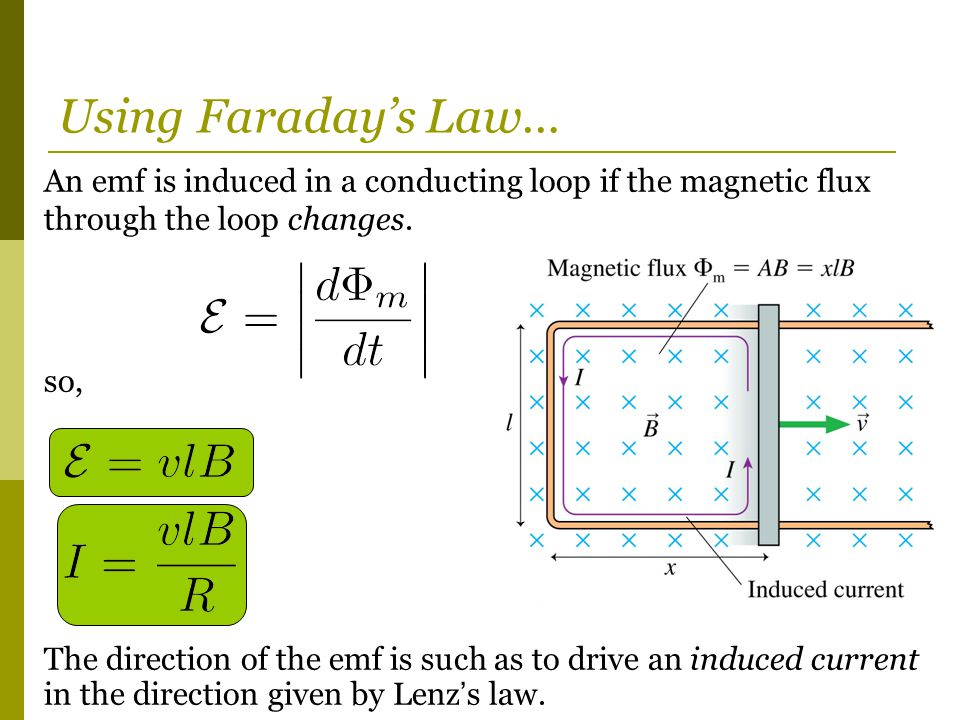Using Faraday's Law… An emf is induced in a conducting loop if the magnetic flux through the loop changes.