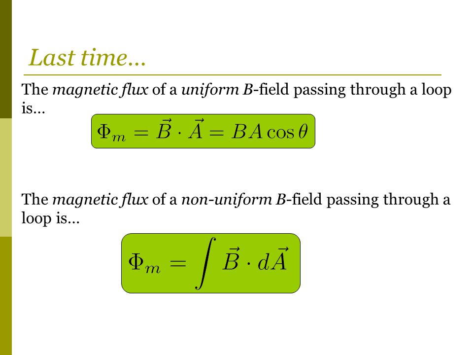 Last time… The magnetic flux of a uniform B-field passing through a loop is… The magnetic flux of a non-uniform B-field passing through a loop is…