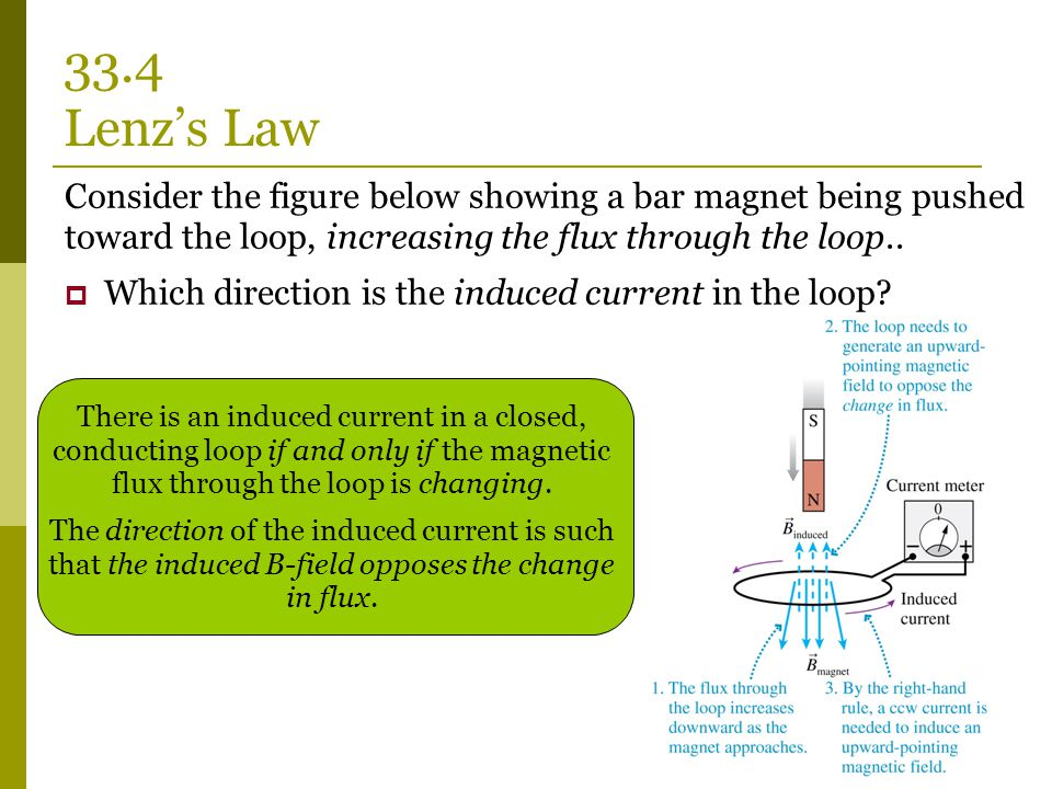 33.4 Lenz's Law Consider the figure below showing a bar magnet being pushed toward the loop, increasing the flux through the loop..