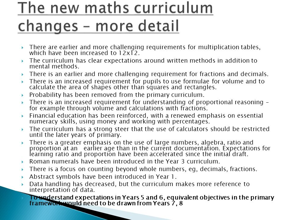 The new maths curriculum changes – more detail
