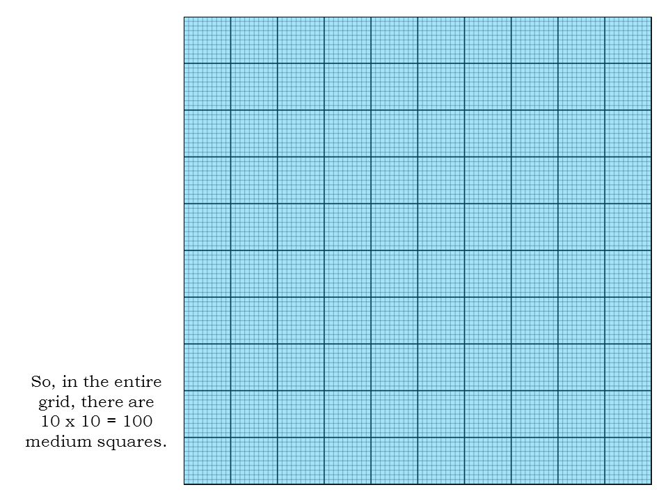 So, in the entire grid, there are 10 x 10 = 100 medium squares.