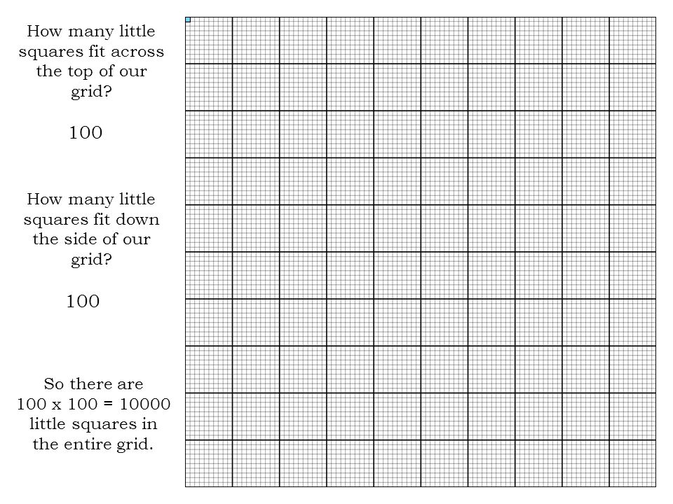 100 100 How many little squares fit across the top of our grid