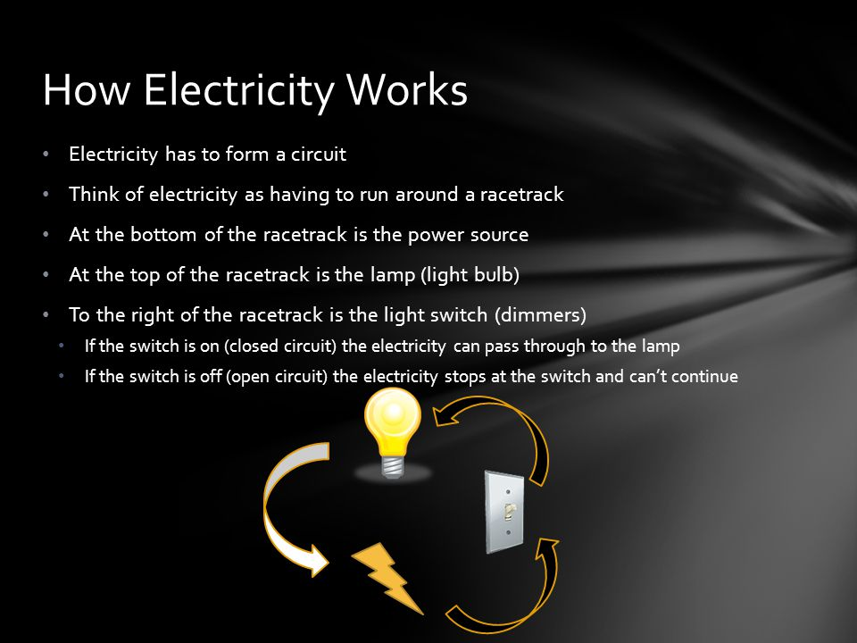 How Electricity Works Electricity has to form a circuit