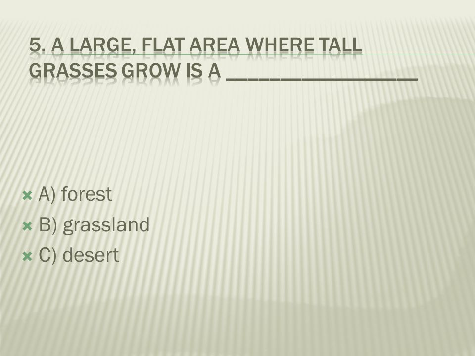 5. A large, flat area where tall grasses grow is a __________________