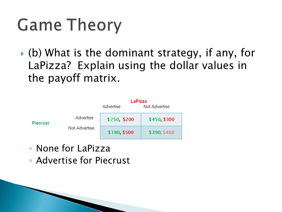 Game Theory (b) What is the dominant strategy, if any, for LaPizza Explain using the dollar values in the payoff matrix.