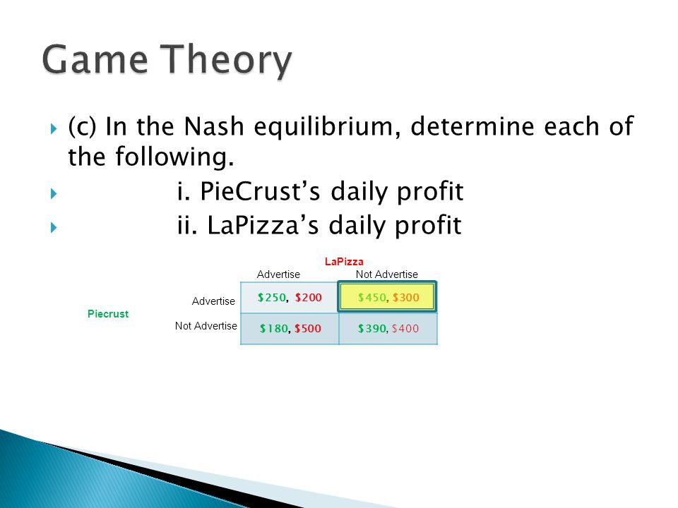 Game Theory (c) In the Nash equilibrium, determine each of the following. i. PieCrust's daily profit.