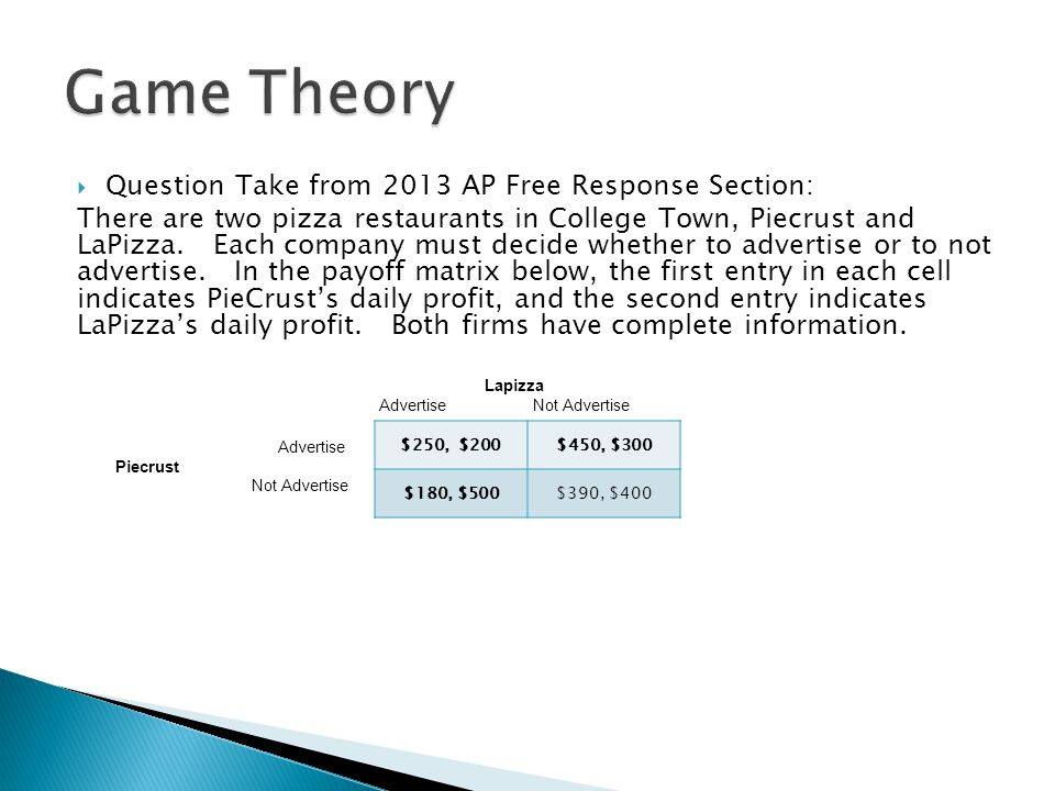 Game Theory Question Take from 2013 AP Free Response Section: