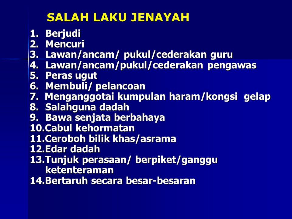 SALAH LAKU JENAYAH 1. Berjudi 2. Mencuri