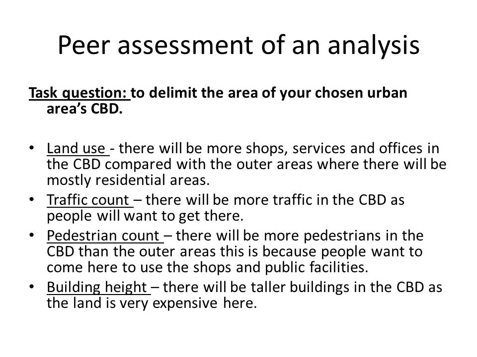 Peer assessment of an analysis