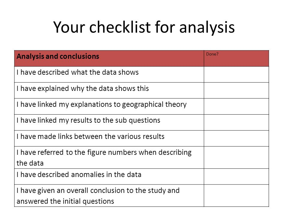 Your checklist for analysis