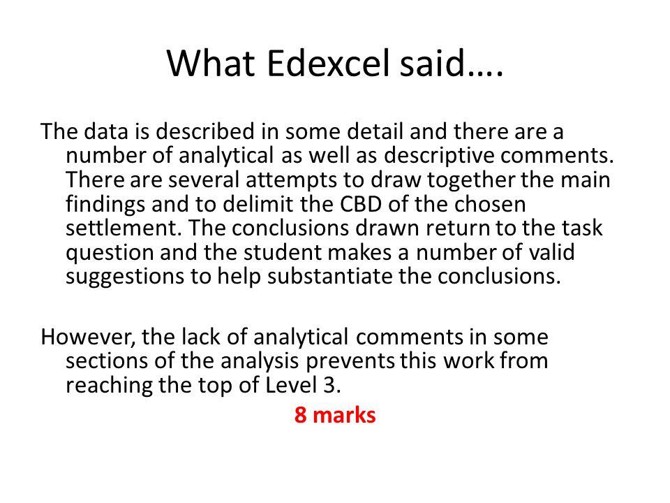 What Edexcel said….
