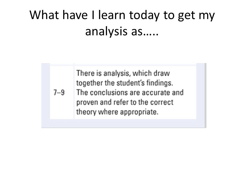What have I learn today to get my analysis as…..