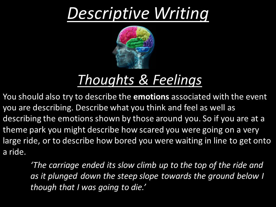 Descriptive Writing Thoughts & Feelings