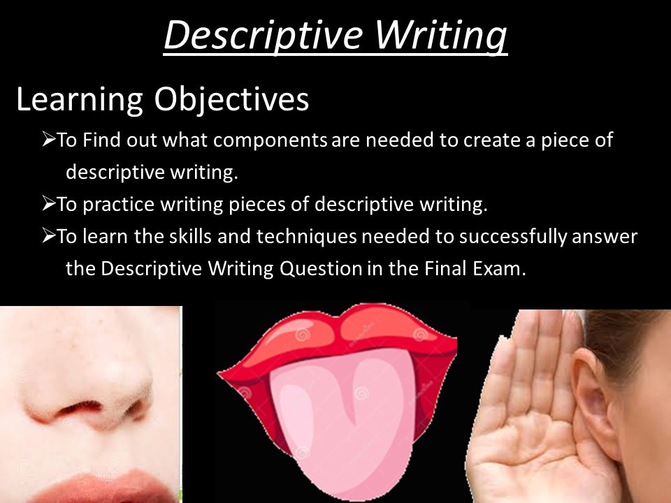 Descriptive Writing Learning Objectives