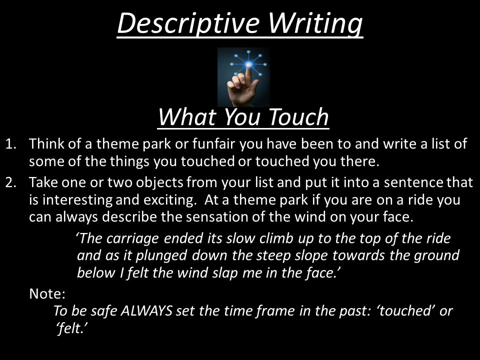 Descriptive Writing What You Touch