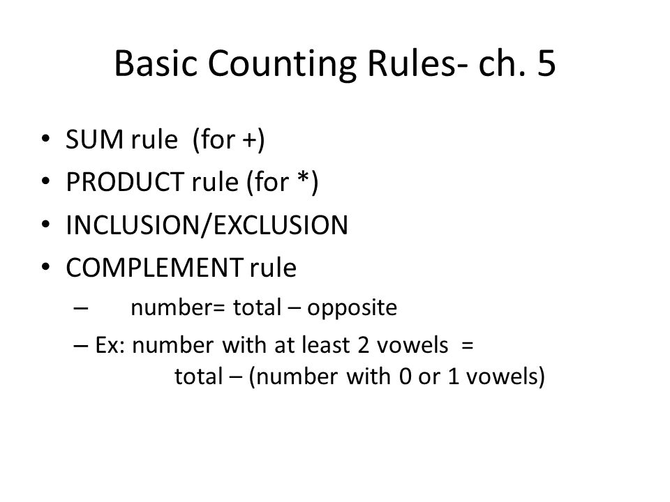 Basic Counting Rules- ch. 5