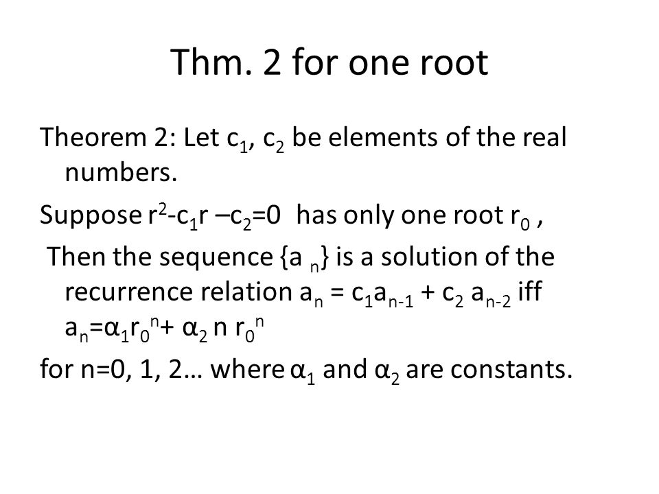 Thm. 2 for one root