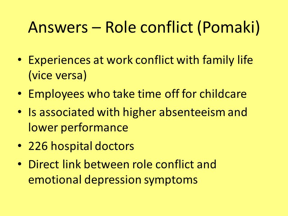 Answers – Role conflict (Pomaki)