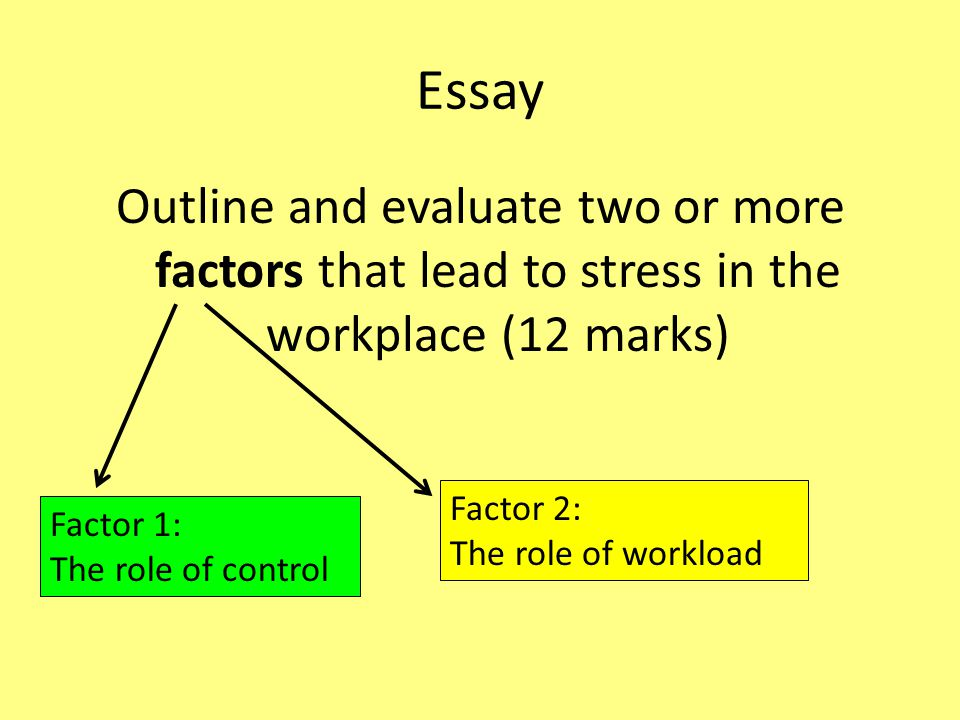Essay Outline and evaluate two or more factors that lead to stress in the workplace (12 marks) Factor 2: