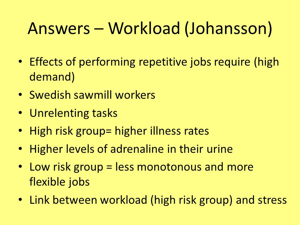 Answers – Workload (Johansson)
