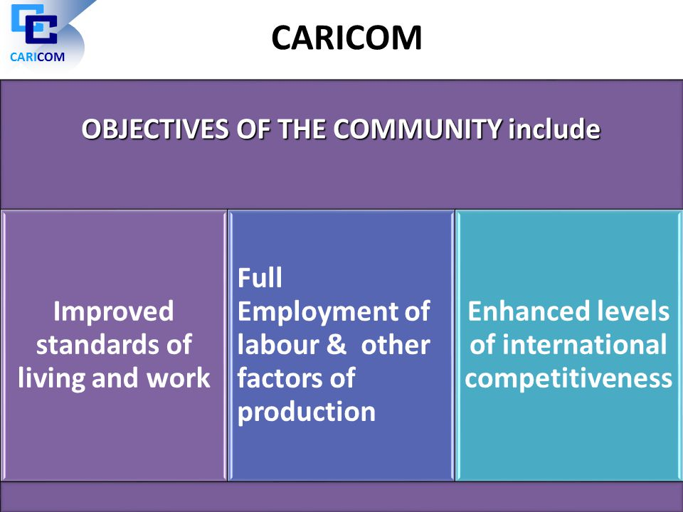 CARICOM OBJECTIVES OF THE COMMUNITY include